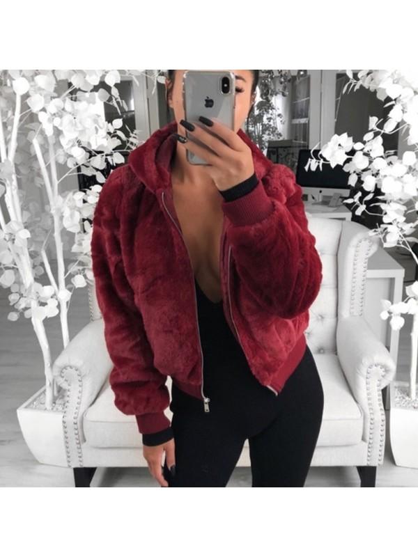 Women Autumn Winter Outwear Warm Fur Jacket