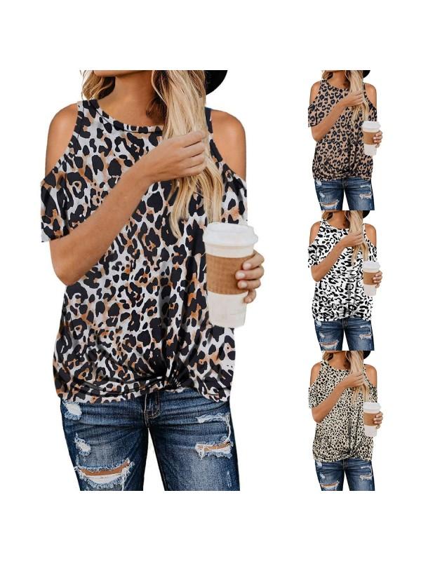 Women's Leopard Print Camouflage Short Sleeves