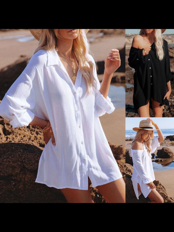 Solid Beach Sunscreen Shirt Blouse