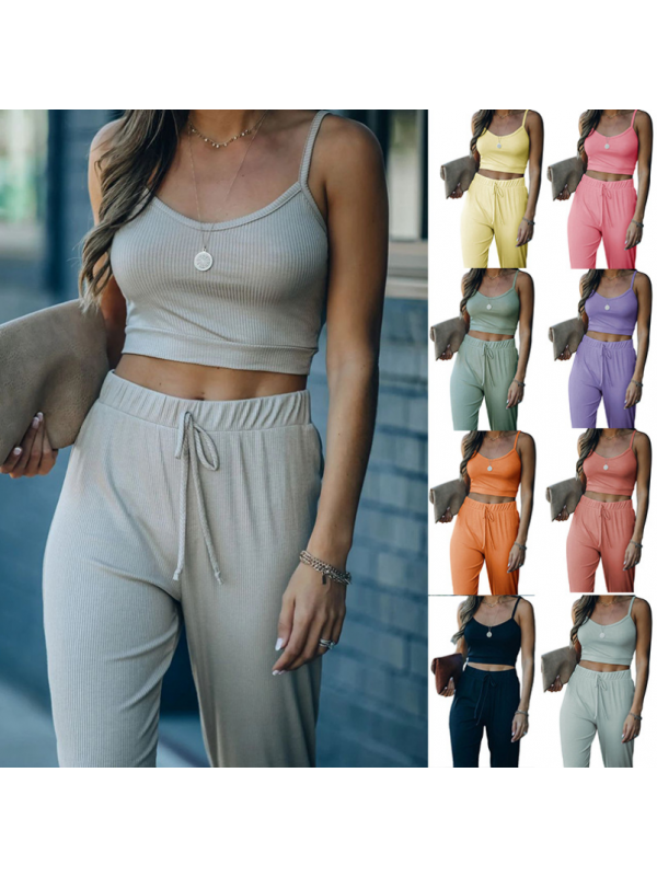 Solid Color Short Style Two-piece Suit