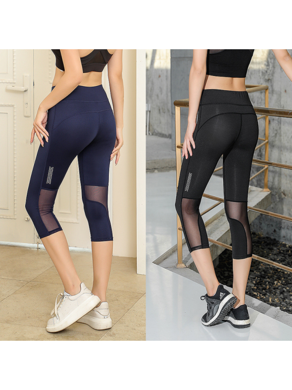 Hollowed-out Net Gauze Splicing Fitness Tight Yoga Pants