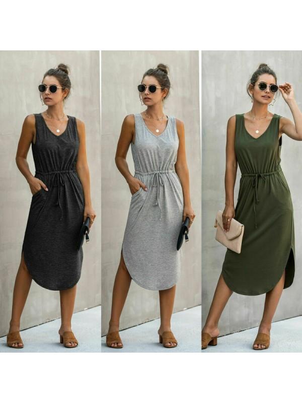 V-collar Sleeveless Casual Loose Dress