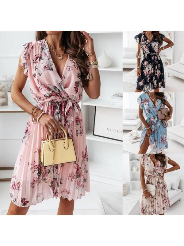 V-neck Short-sleeved Ruffles Dress