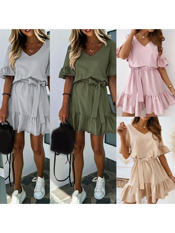 Cute Short-sleeved Ruffles Dress
