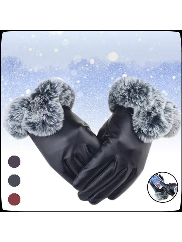 Women PU Leather Gloves Warm in Winter