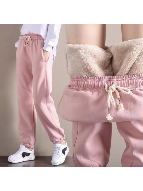 Women Thickening Velvet  Plush Soft Warm Pants