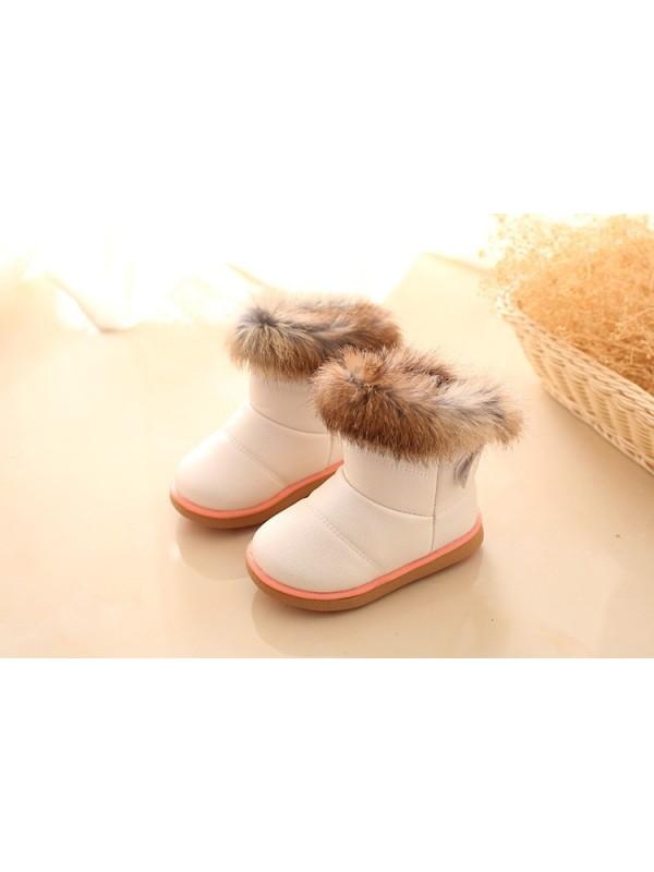 Kids Rabbit Fur Ankle Snow Boots Winter Shoes