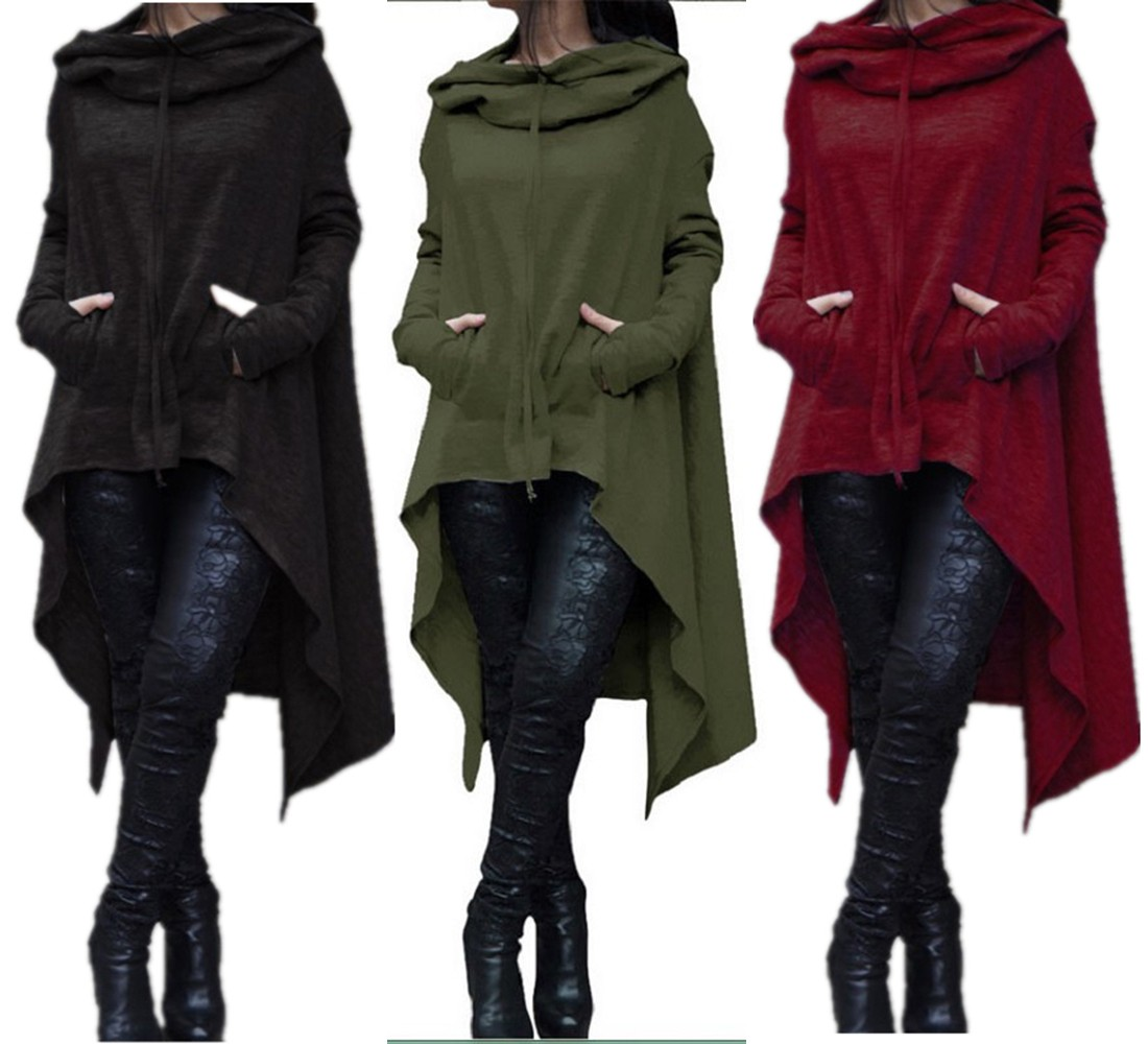 Women Loose Long Hooded Tops Sweatshirt