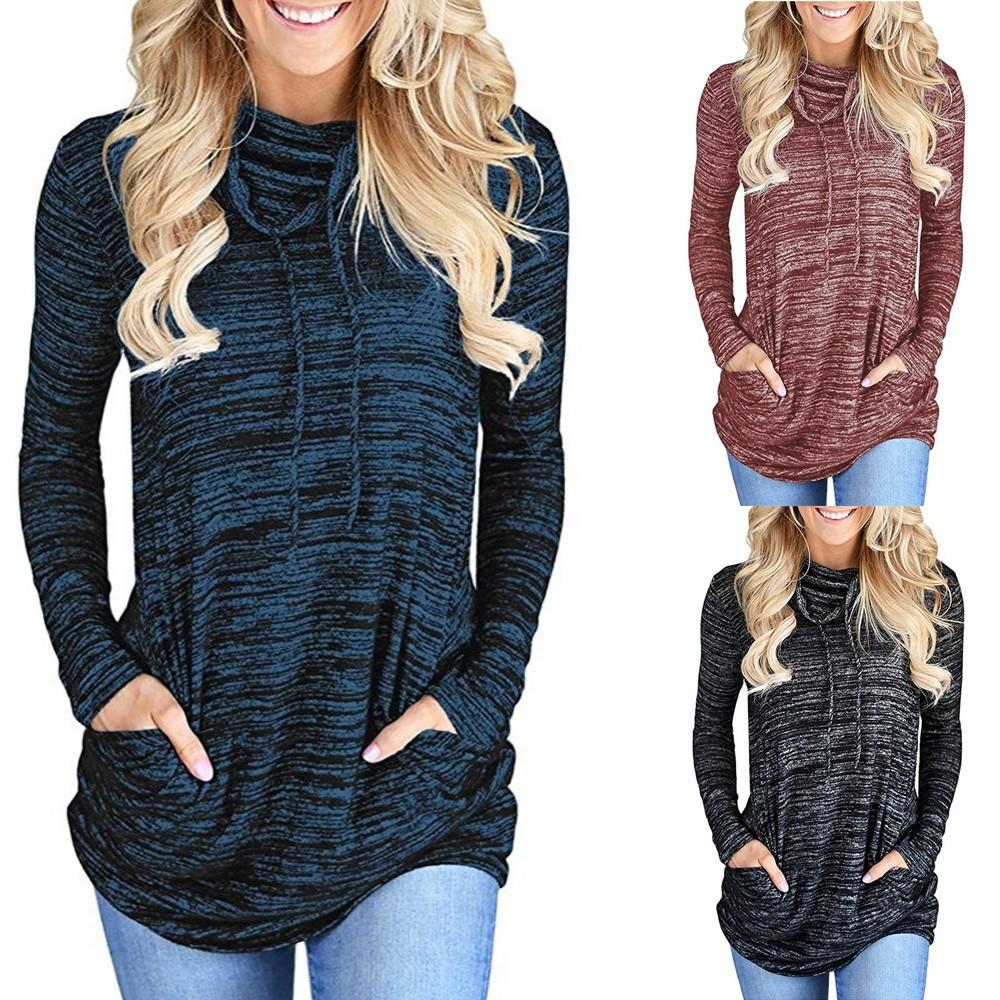 Women Pile Collar Pocket Loose T-shirt