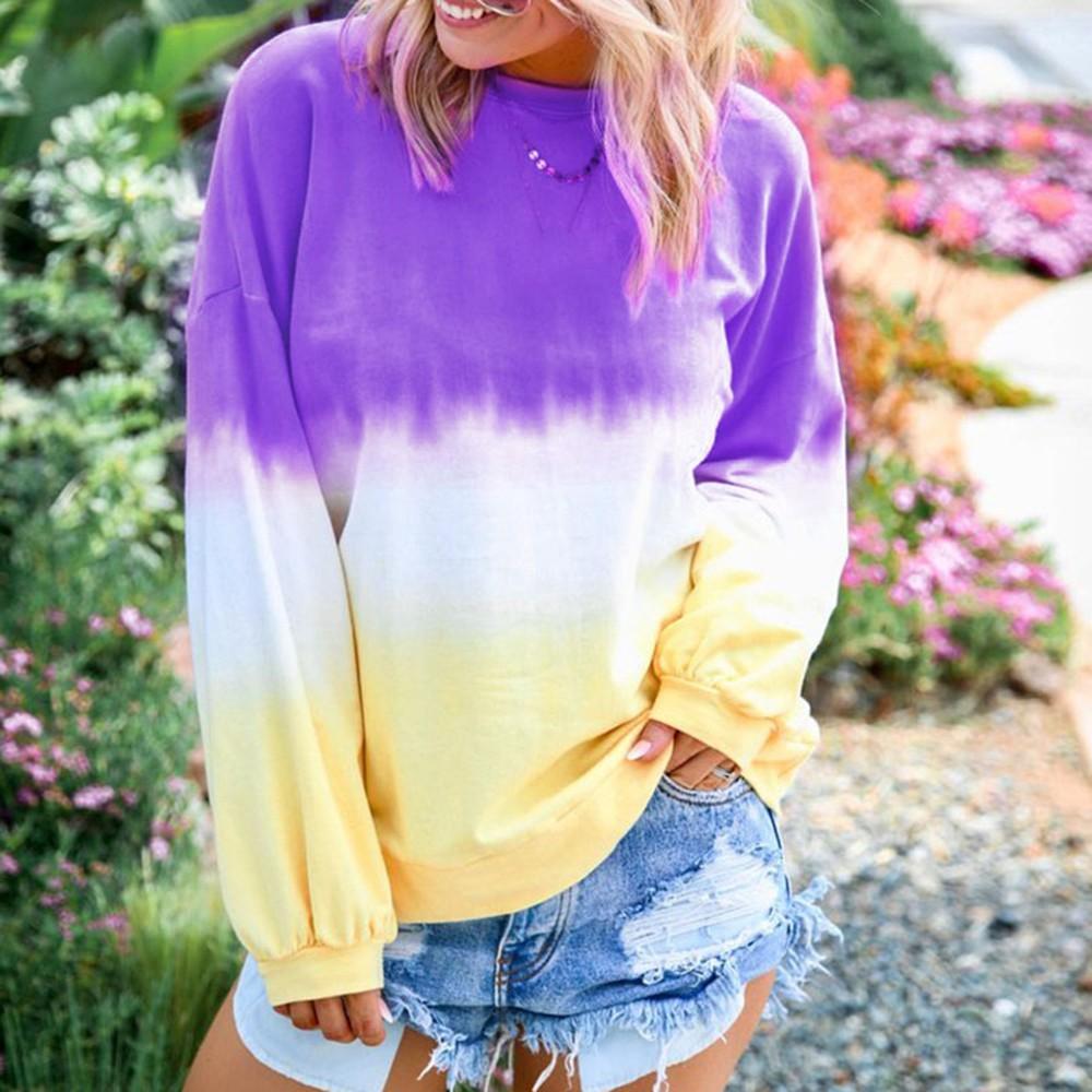 Women Rainbow Gradient Print Sweater Tops