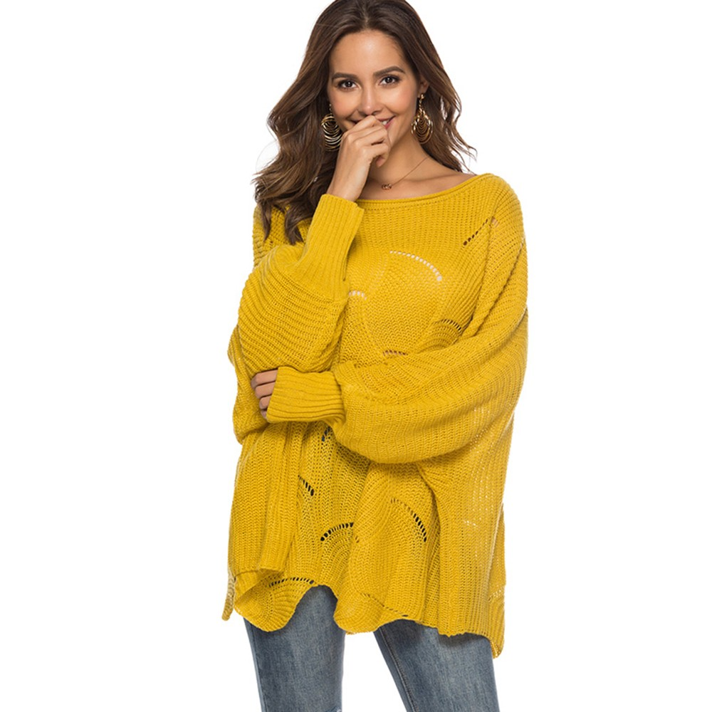 Women Hollow Out Batwing Knitted Sweater