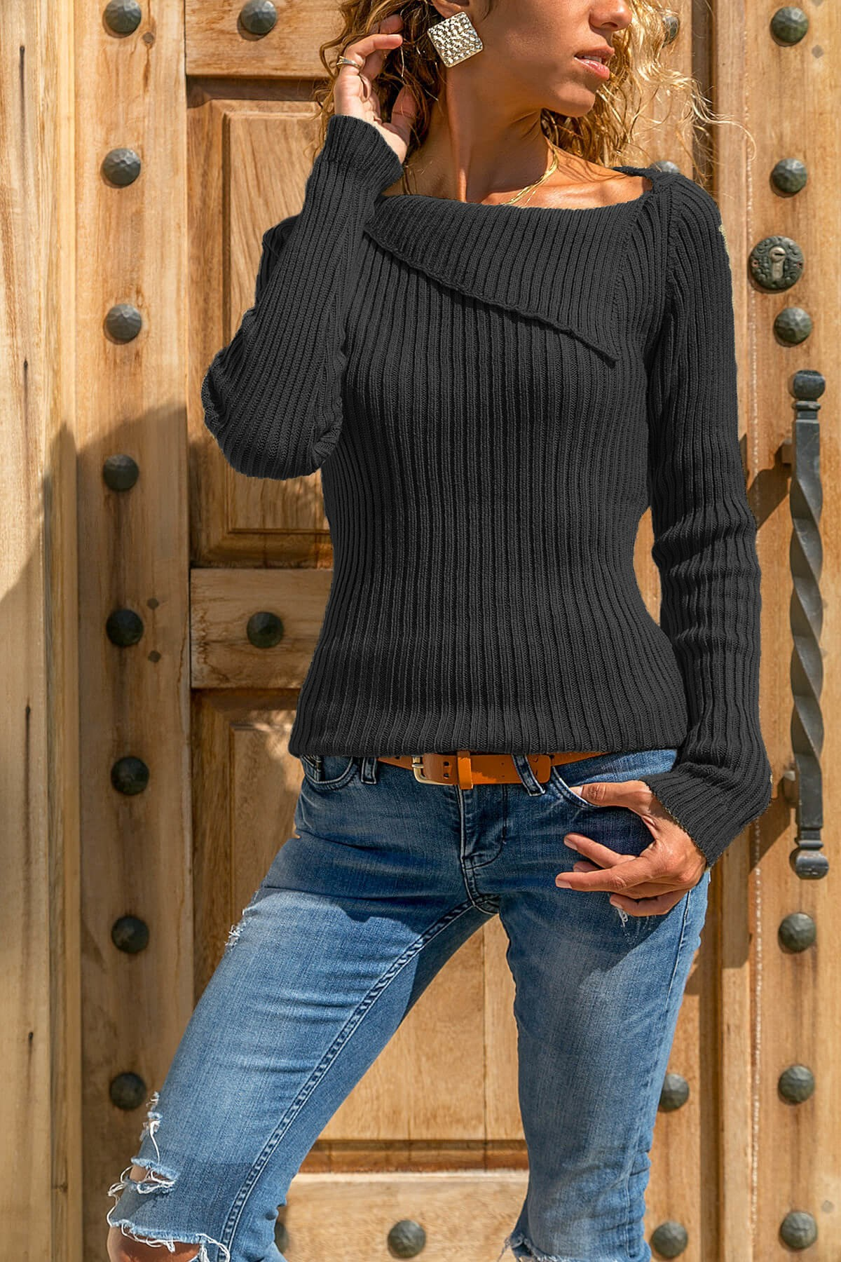 Women Lapel Bottoming Knitted Sweater