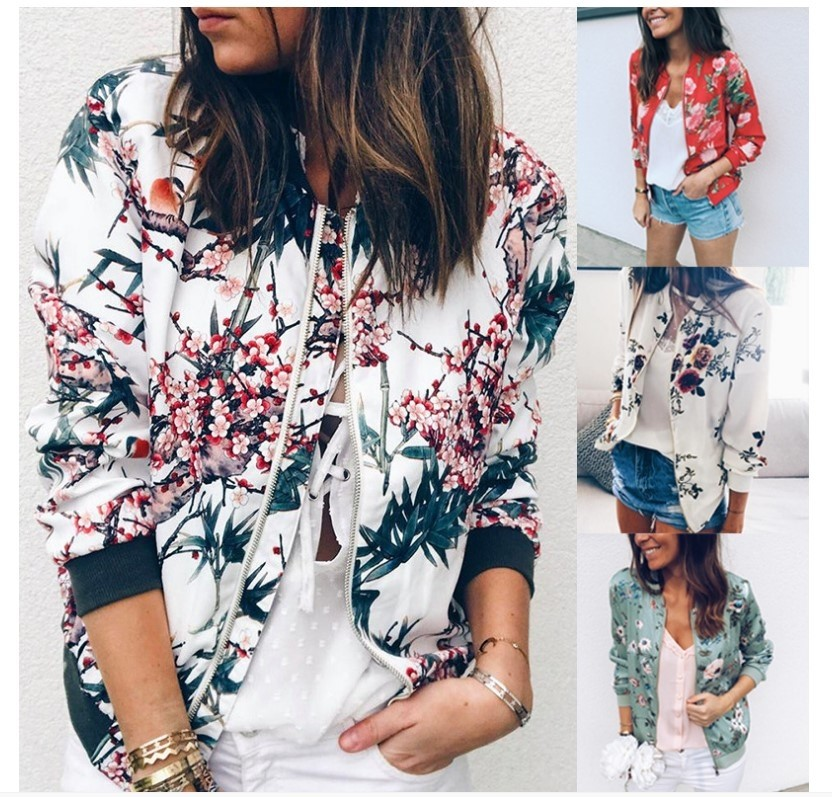 Fashionable Printed Round-collar Zipper Long-sleeved Jacket For Women