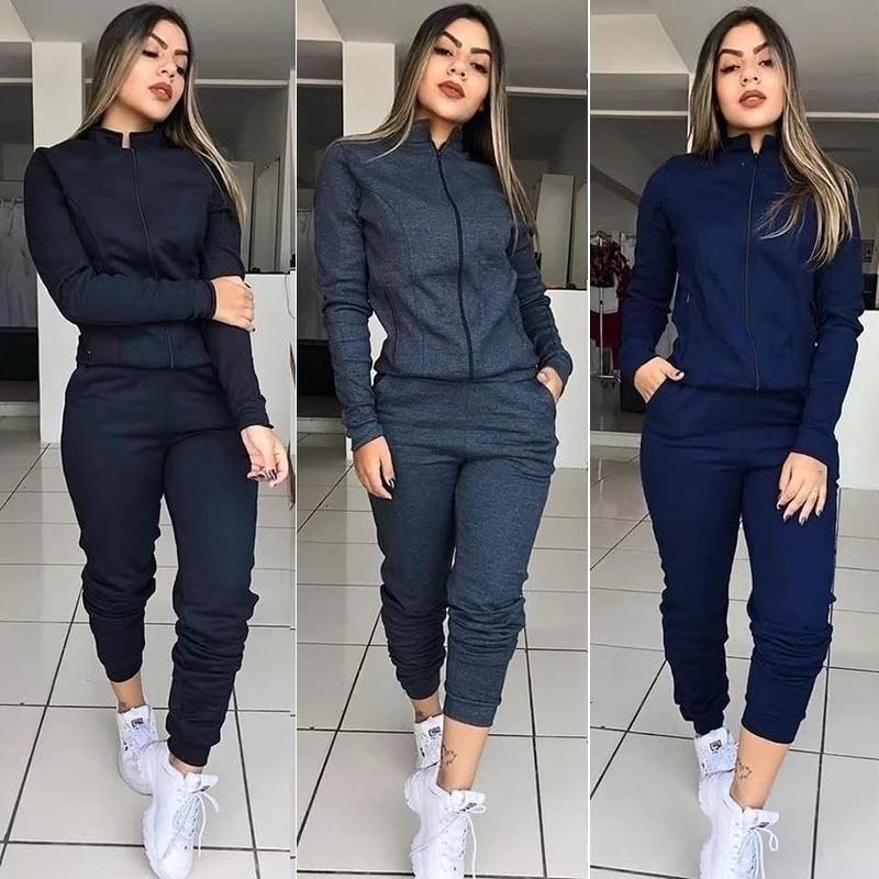 Casual Woman Zipper Sport Suit Two piece/set