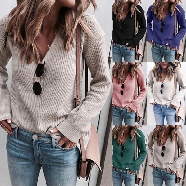 Women Casual V-neck Stitching Sweater