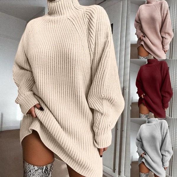 Solid Knit Sweater Dress