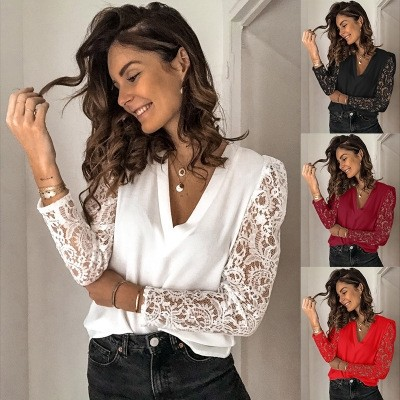 Women's Lace Long-sleeved Slim Bottomed Blouse